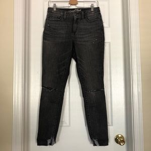 Distressed high rise gray jeans